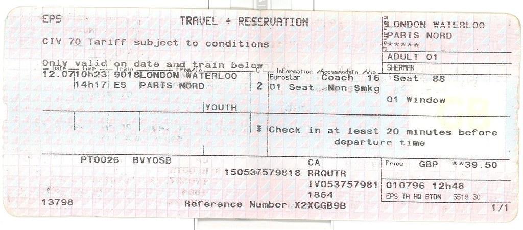 CHUNNEL TICKETS - Chunnel tickets london to paris