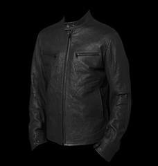 textile(1.0), leather jacket(1.0), clothing(1.0), leather(1.0), outerwear(1.0), jacket(1.0), black-and-white(1.0),