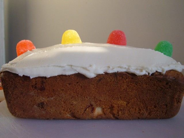 Gumdrop Cake With A Can Of Fussels Cream In It