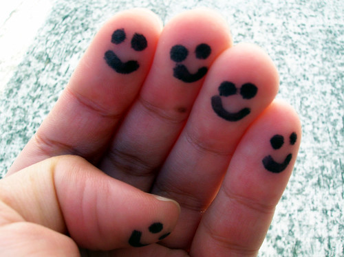 "Mission 172: ""This morning, draw small, happy faces on all your fingers, and a big smiley face on your tummy."""