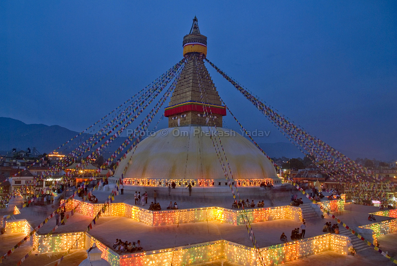 Boudhanath Stupa at dusk