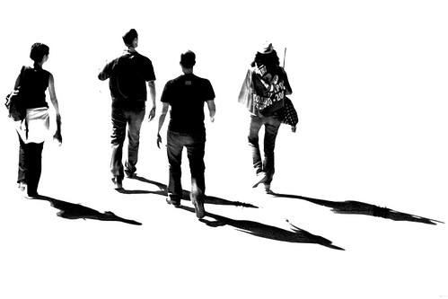 Four friends with their shadows - IMG_1807 BW ed + cr