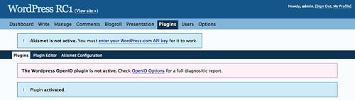 WordPress RC1 › Manage Plugins — WordPress