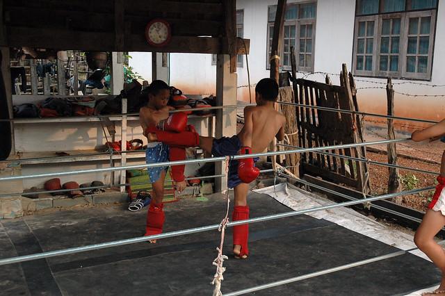 Thai boxing - receiving a kick