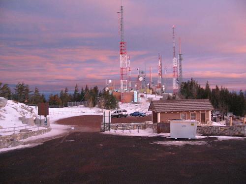 winter mountain newmexico sunrise sandia radiotower