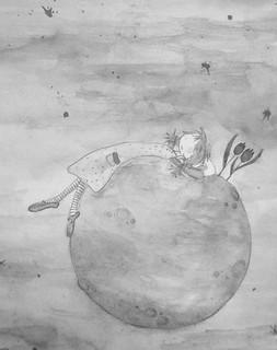 Luna en la luna. Ilustración de Raquel Rojo.