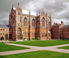 The College itself is named after John Keble, one of Pusey's colleagues in the Oxford Movement, who died four years before its foundation in 1870. It was decided immediately after Keble's funeral that his memorial would be a new Oxford college bearing his name. Two years later, in 1868, the foundation stone was laid by the Archbishop of Canterbury on St Mark's Day. The college first opened in 1870, taking in thirty students, whilst the Chapel was opened on St Mark's Day 1876. Accordingly, the College continues to celebrate St Mark's Day each year. (Wikipedia)  One French visitor is quoted saying: 'It is magnificent but it is not the railway station'.