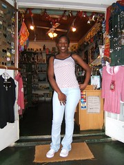 Another picture of Presias at her shop in Sabie