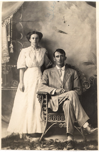 vintage studio portrait, great-grandparents