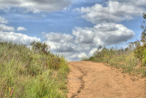 trail and clouds