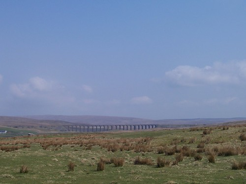 The Ribblehead Viaduct in the distance