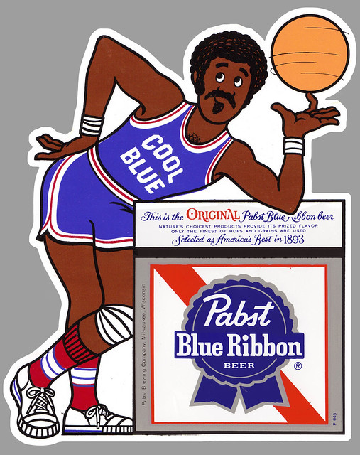 Pabst Blue Ribbon -  Cool Blue Basketball Player sticker - 1972