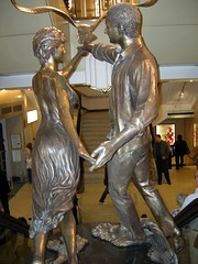 Diana & Dodi Memorial Statue at Harrods