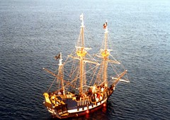 sailing ship, vehicle, ship, mast, caravel, watercraft, galleon,
