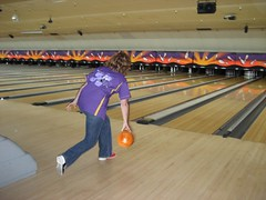 Sara going for a strike