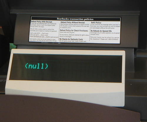 Cash register with the text (null) on it