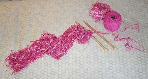 "Knitting ""girlie-girl"" scarf"