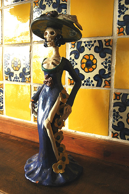 La Catrina in Guadalajara, Mexico with traditional yellow and blue tiles, de México