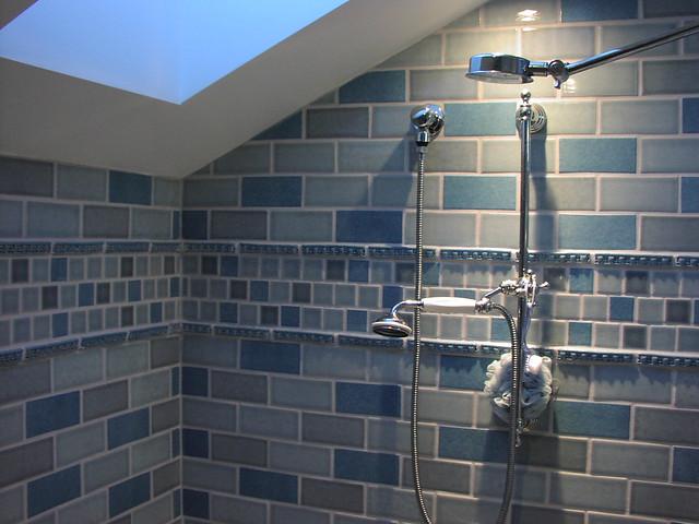 Blue Subway Tile Kitchen Backsplash