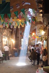 A beam of sunlight in the Aleppo Souk