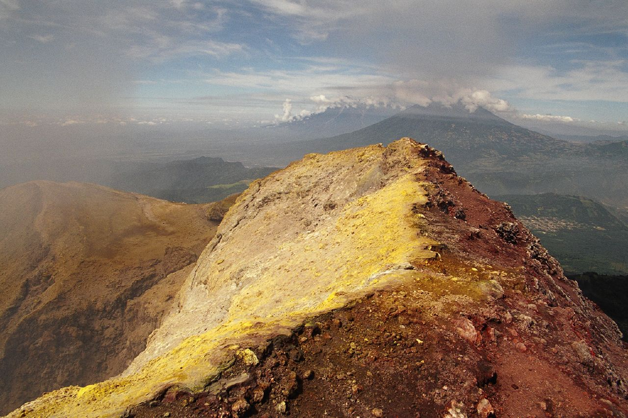 On the rim of Pacaya volcano's crater