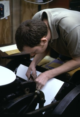 Matt printing on an Arab platen press 2003 | by Ben Weiner