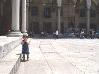 a child in Sultanahmet Mosque