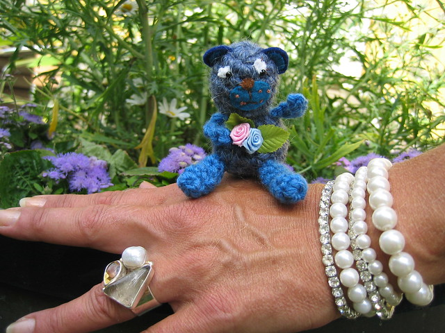 Crocheted Mini teddy bear blue by Hanna Andersson
