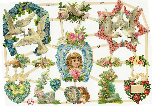 White doves scrap die cut flower borders free download vintage illustration