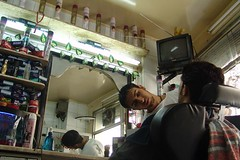Fred at barbers, Damascus