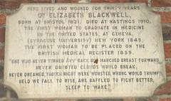Photo of Elizabeth Blackwell grey plaque