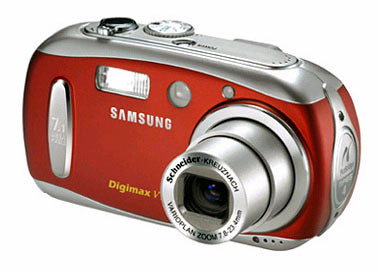 Red Samsung Digimax V10 (by unknown)