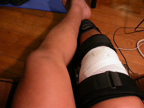 my knee in a brace