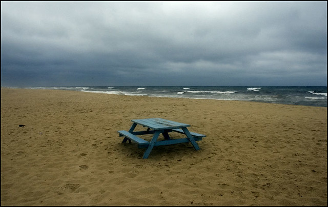 Blue picnic table
