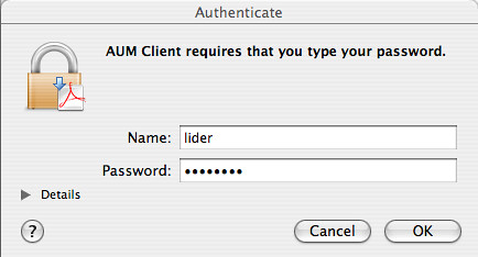 AUM client requires my password?