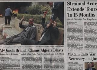Front Page Washington Post, April 12, 2007