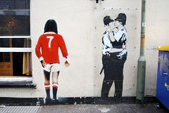 George Best & Kissing Coppers by Banksy in Brighton