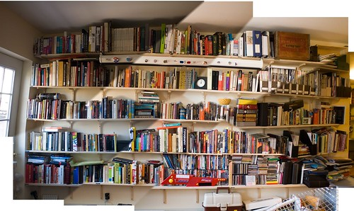Crammed bookshelves