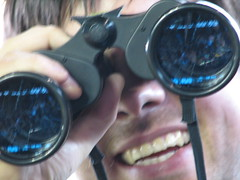 binoculars, close-up, blue, organ,