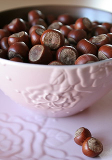 Hazelnuts in a Pink Bowl