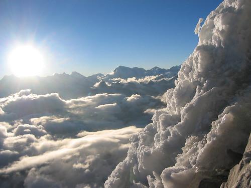 nepal sunset snow mountains expedition climbing himalaya khumbu amadablam
