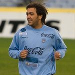 Alvaro Recoba warms up