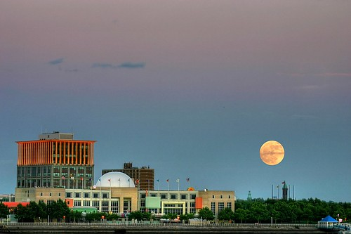 Moon rise over Camden, NJ