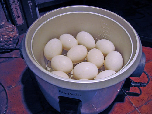 boiled eggs in a rice cooker