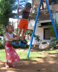 child, backyard, outdoor play equipment, fun, people, play, outdoor recreation, swing, public space, playground,
