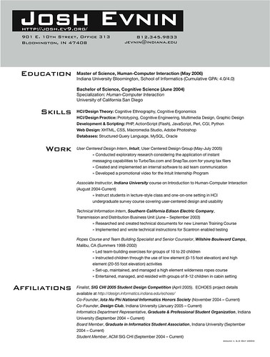 resume grad school admission