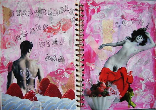 Red is the colour of passion - art journal page by iHanna...