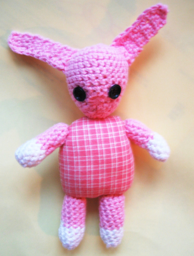 Babe Ruth, a crocheted baby bunny or rabbit by iHanna