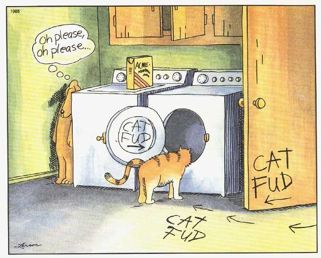 Far Side Cat Fud Oh Please Oh Please meme funny comic Imgur