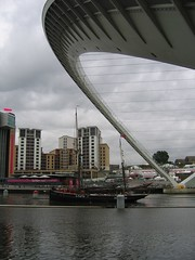 Millennium Bridge raised for a Tall Ship during the Tall Ships Race in 2005, Newcastle